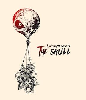 Opknoping schedels met schedel hoofd ballon halloween voor wenskaart ontwerp vectorillustratie