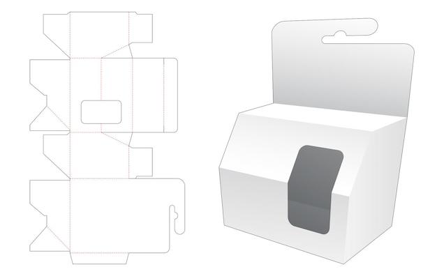 Opknoping shart afgeschuinde verpakking met venster gestanst sjabloon
