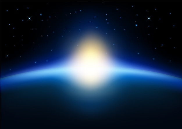 Opkomende zon ter wereld op blauwe gloeiende achtergrond