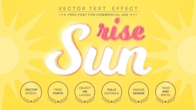Opkomst van de zon - bewerkbaar teksteffect, lettertypestijl.