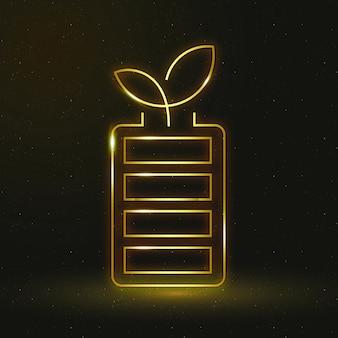Oplaadbare batterij pictogram vector milieuvriendelijk symbool