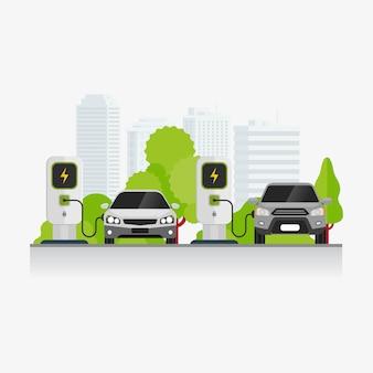 Oplaadtechnologie voor elektrische voertuigen bij de illustratie van het parkeerterrein