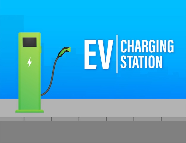 Opladen elektrische auto. ev-station. voertuig staan.