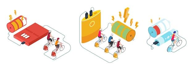 Opladers set geïsoleerde illustraties met fietsen aangesloten op powerbank met batterijen