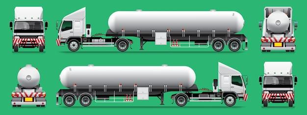 Oplegger gastanker vrachtwagen sjabloon 14 wiel.