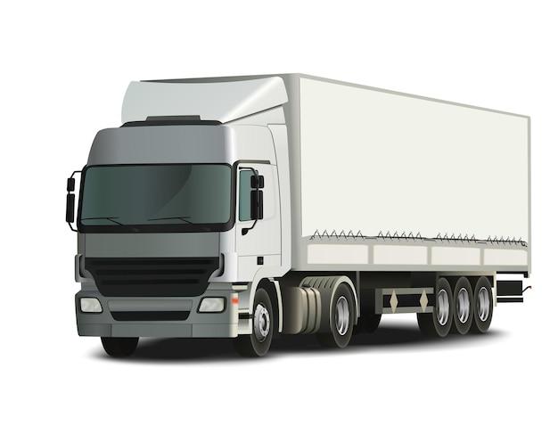 Oplegger vrachtwagen, gedetailleerde en realistische vectorillustratie