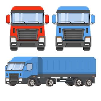 Oplegger vrachtwagen. vooraanzicht en zijwaarts. de logistiek van de levering van voertuiglading. goederenvervoer laadt auto.