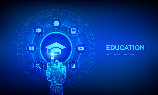 Opleiding. innovatief online e-learning en internettechnologieconcept op virtueel scherm. robotachtige hand wat betreft digitale interface.