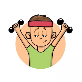 Opleiding jongen met halters. actieve levensstijl. cartoon icoon. illustratie. op witte achtergrond.