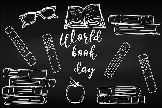 Opleiding. werelddagboek. april. kennis. lezing. wereld. voor jouw ontwerp. vel. krijtbord. school.