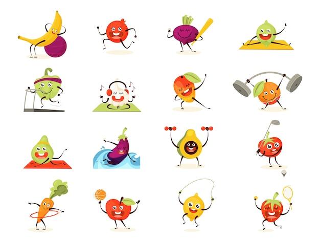 Opleidingsset voor groenten en fruit. verzameling van voedselkarakter die sportoefening doen. grappig gezicht. meditatie en training met halter. illustratie in cartoon-stijl
