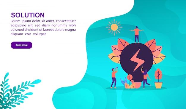 Oplossing illustratie concept met karakter. bestemmingspaginasjabloon