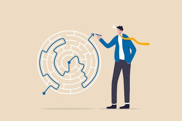 Oplossing voor het oplossen van zakelijk probleem, vaardigheid en intelligentie om moeilijkheden te overwinnen, uitdaging voor leiderschapsconcept, slimme zakenman trekt de lijn met oplossing om labyrint-doolhofprobleem op te lossen.