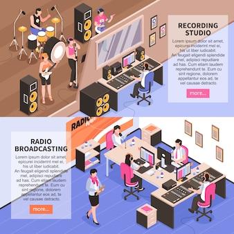 Opnamestudio en radio die horizontale banners uitzenden met muziekbandomroeper en isometrische nieuwslezers