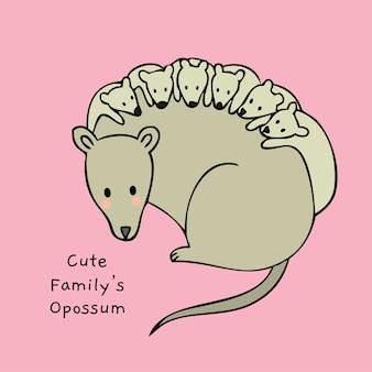 Opossumvector van de beeldverhaal de leuke familie.