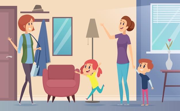 Oppas. vrolijke preschool kinderen nodigen babysitter leraar uit en spelen samen in kinderen kamer vector cartoon. illustratie kinderopvang door babysitter, kleuterjuf en opvoeder