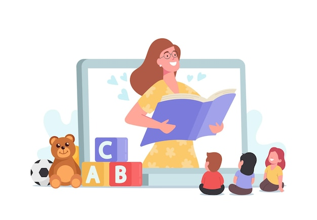 Oppassen, vriendelijk digitaal oppaspersonage dat sprookjes voorleest aan kinderen. babysitter nanny online. service, kinderopvang