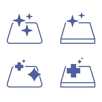 Oppervlakken reinigen sanitaire symbolen reinigings- en desinfectieoppervlak silhouetsymbool