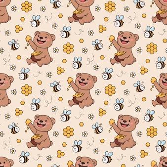 Oppervlaktepatroonontwerp met teddybeer honingbij vrienden honing madeliefje honingraat