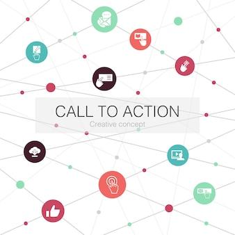 Oproep tot actie trendy websjabloon met eenvoudige pictogrammen. bevat elementen als downloaden, klik hier, abonneer je, neem contact met ons op