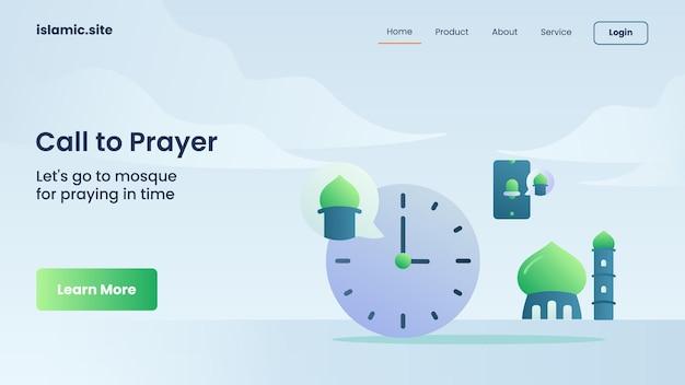 Oproep tot gebed mobiele app voor landing van websitesjabloon of startpagina-ontwerp