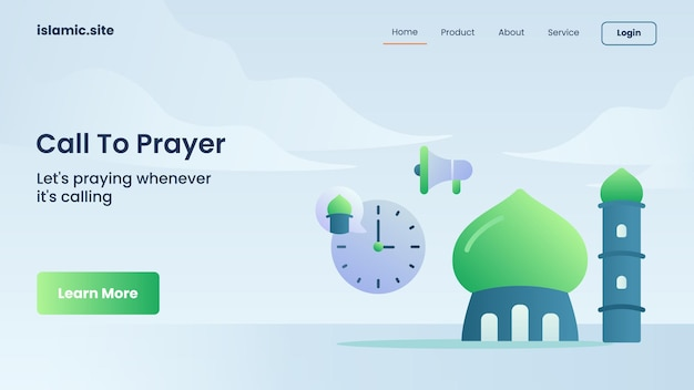Oproep tot gebed voor de landing van een website-sjabloon of het ontwerp van de startpagina