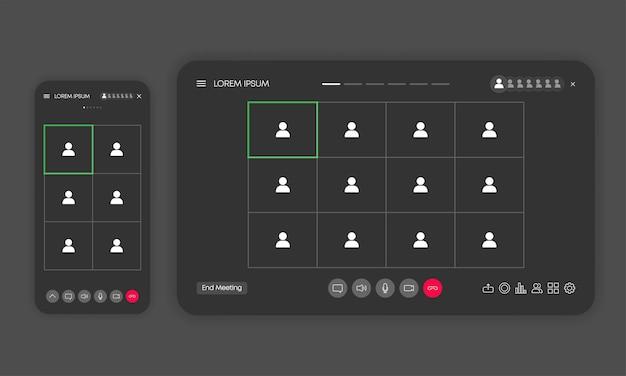 Oproepschermsjabloon in vensterbrowser of app. videochat of vergadering of conferentie. mockup-gebruikersinterface, ux-interface. vector illustratie.