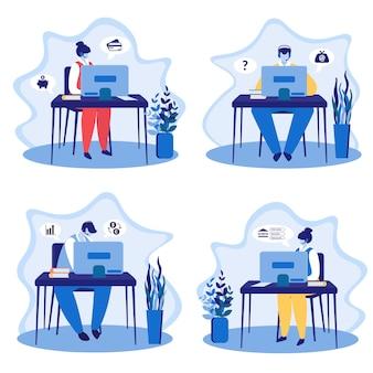 Oproepservice, technisch online ondersteuningspersoneel ingesteld