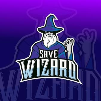 Opslaan tovenaar mascotte esport logo ontwerp