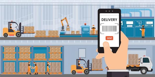 Opslag- en opslag-app op een smartphone met goederen en dozen op planken.