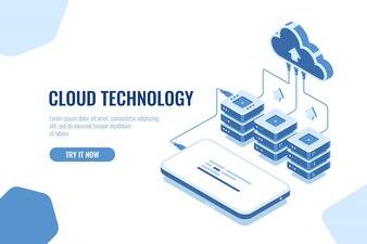 Opslag en overdracht van gegevens uit de cloudtechnologie isometrisch downloaden van gegevens uit mobiele telefoons