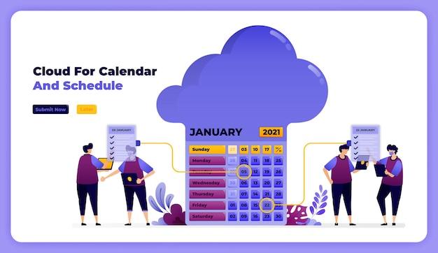 Opslag en voltooiing van planning op de werkkalender van januari.