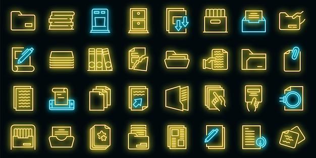 Opslag van documenten pictogrammen instellen. overzicht set van opslag van documenten vector iconen neon kleur op zwart
