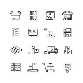 Opslagdienst, magazijn, pakketbezorging en apparatuur vectorlijnpictogrammen