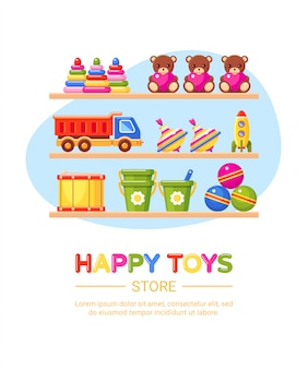 Opslagplanken met kinderspeelgoed. kinderwinkel interieur.