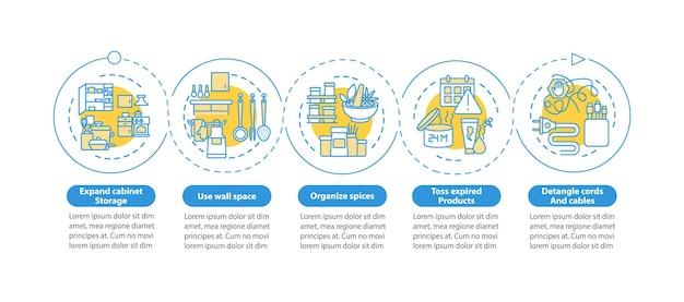 Opslagruimte vrijmaken infographic sjabloon. decluttering adviseert presentatie-ontwerpelementen. datavisualisatie met 5 stappen. proces tijdlijn grafiek. werkstroomlay-out met lineaire pictogrammen
