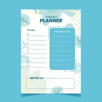 Opsommingsteken dagboek planner sjabloon met bladeren