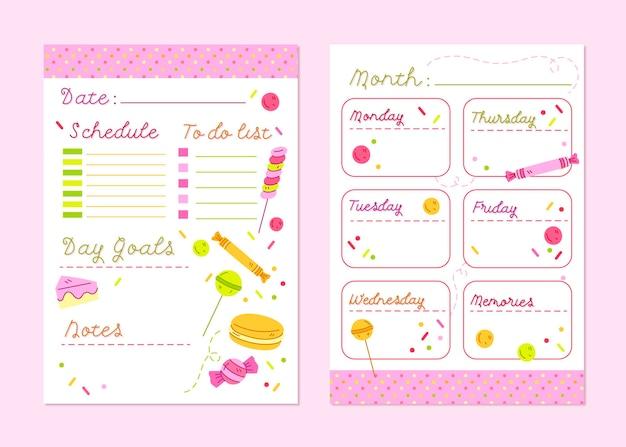Opsommingsteken dagboek planner sjabloon met snoep