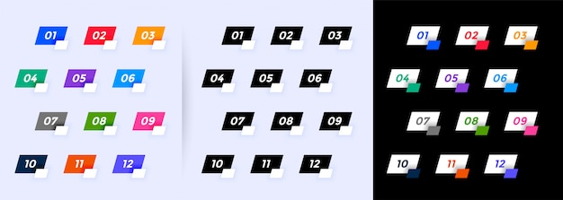 Opsommingstekens in geometrische stijl van één tot twaalf