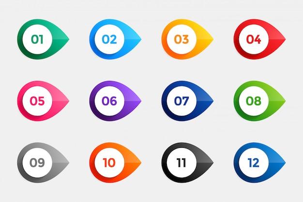 Opsommingstekens van één tot twaalf in vele kleuren