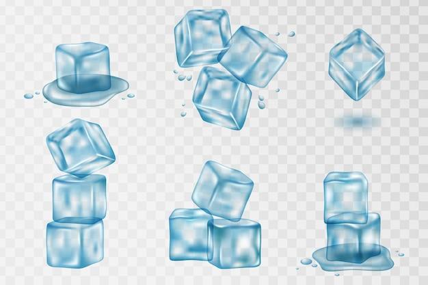 Opspattend water en ijsblokje met transparantie. set van realistische doorschijnende ijsblokjes in blauwe kleur