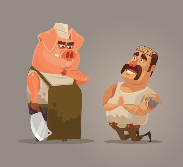 Opstand van boerderijdieren boos varken probeert zichzelf te beschermen piggy en slager karakters is omgekeerde illustratie