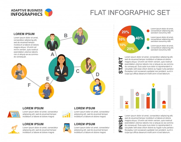 Opstartbalk en percentage grafieken sjabloon voor presentatie