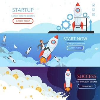 Opstartbanners. nieuw idee of creatieve zakelijke lancering raket schip of shuttle symbool van eerste project vector concept foto's