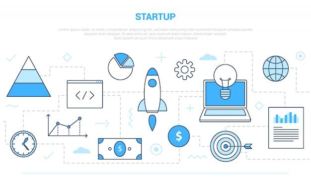 Opstarten bedrijfsconcept met verschillende pictogramlijnen zoals raketzaken en investeringen met moderne lijnstijl