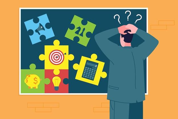 Opstarten bedrijfsconcept. zakenman heeft geen idee, plant, denkt na over hoe hij een bedrijf moet starten en stelt al zijn elementen en puzzels samen. organisatie van ondernemersactiviteit in de beginfase