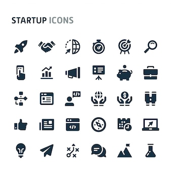 Opstarten icon set. fillio black icon-serie.