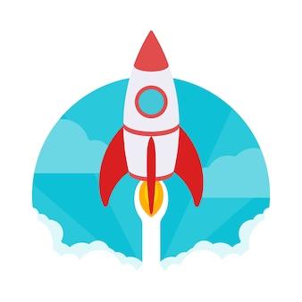 Opstarten illustratie. de raket stijgt op tegen de blauwe lucht en de wolken van witte rook