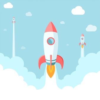 Opstarten illustratie. raketten in de wolken. moderne vlakke stijl
