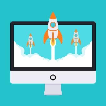 Opstarten illustratie. raketten stijgen op van de monitor in wolken van witte rook